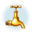 watercolor hand drawn brass golden water tap vector image