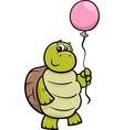 turtle with balloon cartoon vector image