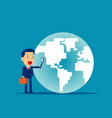 a business man looking globe concept business vector image