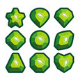 a set of green emblems of precious stones vector image vector image