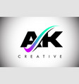 ak letter logo with creative swoosh curved line