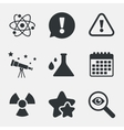 Attention radiation icons Chemistry flask vector image