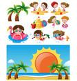 beach scene with children in different activities vector image