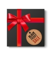 Black gift with red bow vector image vector image