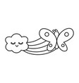 buttlerfly and rainbow black and white vector image