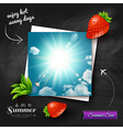 Card with hot summer sun on a chalkboard vector image vector image