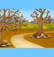 cartoon of beautiful autumn tree with a mountain b vector image vector image