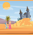 castle and kneeled knight before princess love vector image