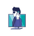 computer with cyber security agent vector image vector image