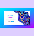 cyber sport neon landing page vector image