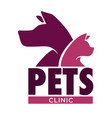 dog and cat vet clinic pets health isolated icon vector image vector image