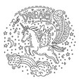 doodle unicorn dream vector image vector image