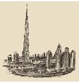 Dubai City Skyline Hand Drawn Engraved vector image vector image