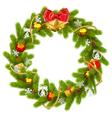 Fir Wreath with Golden Beads vector image vector image