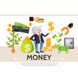 flat cash icons composition vector image vector image