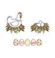 flat chicken eggs in nest isolated vector image vector image