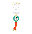 flat man holding light bulb brainstorm vector image vector image