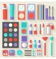 Flat women makeup cosmetics lying on the table vector image