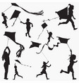 fly kite silhouettes vector image
