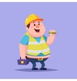 Funny Cartoon Character Fat man repairman builder vector image vector image