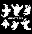 ghosts scary set flat style isolated on a black vector image