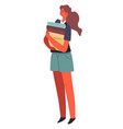 girl carrying books and textbooks student or vector image vector image