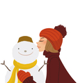 girl kisses snowman vector image