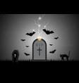 halloween gravestone bat coffin cat vector image vector image