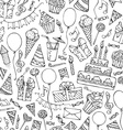 Hand-drawn seamless birthday pattern vector image