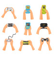 hands holding gamepads set retro and modern game vector image