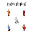 isometric person set of medic hostess female and vector image vector image