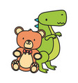 kids toy teddy bear and green dinosaur toys vector image