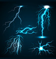 lightning set realistic style vector image