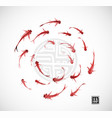 little red fishes in circle on white background vector image vector image