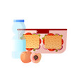 lunch box with healthy food two sandwiches peach vector image vector image