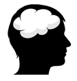 Male silhouette with brain vector image