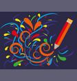 multicolored curls draws a pencil advertising of vector image vector image