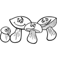 mushrooms cartoon for coloring book vector image