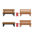 outdoor wooden benches with garbage canouter vector image