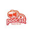 podcast radio logo inspiration in orange color vector image vector image