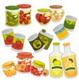 preserved food in jars and bottles collection on vector image vector image
