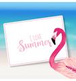 Realistic Sea Background Tropical Flamingo Bird vector image