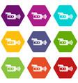 retro camera icon set color hexahedron vector image vector image