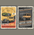 retro cars restoration garage vintage motor show vector image vector image