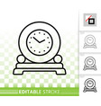 round clock on stand simple black line icon vector image vector image