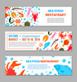 seafood and fish icons vector image vector image