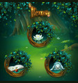 set of different items for shadowy forest gui vector image vector image