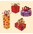 Set of holiday Christmas boxes with gifts