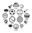 sport balls equipment icons set simple style vector image vector image
