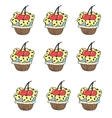 Stylized seamless pattern with muffins cupcake vector image vector image